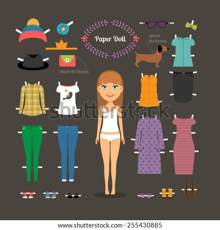 Dress up paper doll with big head. Pants and dresses, shoes and hats, fashion. Vector illustration - stock vector