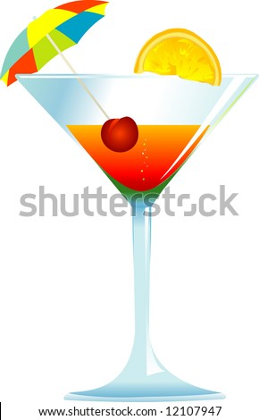 Dressed cocktail with umbrella, cherry and orange slice.