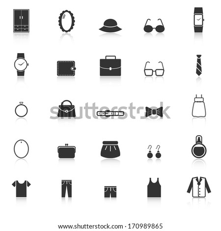Dressing icons with reflect on white background, stock vector - stock vector