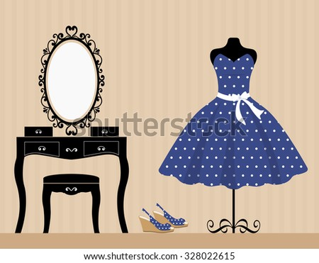 dressing table mannequin and blue dress - stock vector