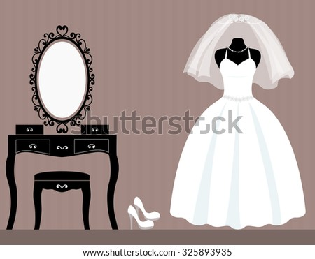 dressing table mannequin and long wedding dress - stock vector
