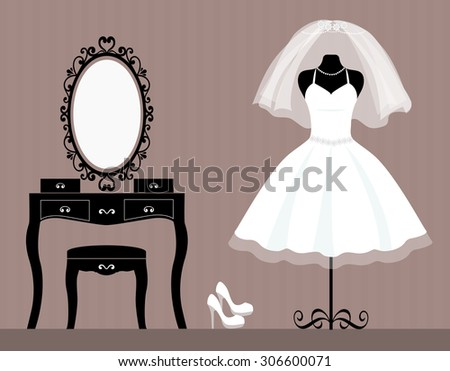 dressing table mannequin and wedding dress - stock vector