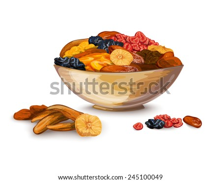 Dried fruits bowl composition with prune banana dried apricot vector illustration
