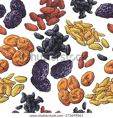 Dried fruits seamless pattern on white background, sketch style vector illustration. Hand drawn realistic dried plums, prunes, apricots, raisin seamless pattern, background, backdrop design