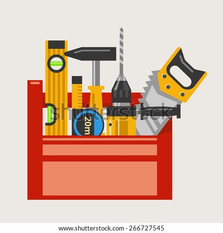 Drill and hammer, saw and level and tape measure in a red toolbox. Vector illustration - stock vector