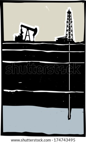 Drill and Pump jack drilling in the ground down to an aquifer. - stock vector