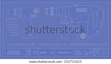 Drill, hammer drill and bits engineer blueprint. Vector schematic illustrations  - stock vector