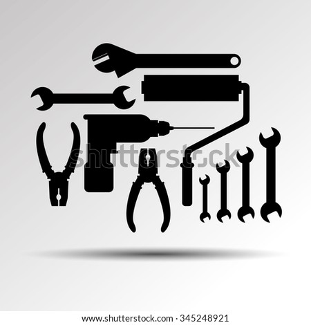 drill pliers tool hammer vector wrench saw repair screwdriver icon work - stock vector