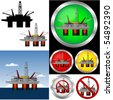 Drill rig Web Buttons and graphic set. - stock photo