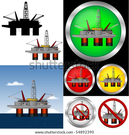 Drill rig Web Buttons and graphic set. - stock vector
