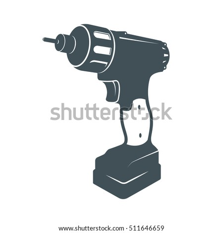 Drill vector hand tool flat.  electro tools. Electric screwdriver bit icon.