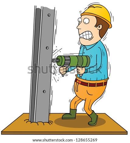 drilling iron bar - stock vector