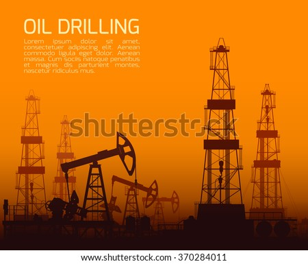 Drilling rigs and oil pumps at orange sunset in desert. Detail vector illustration. - stock vector