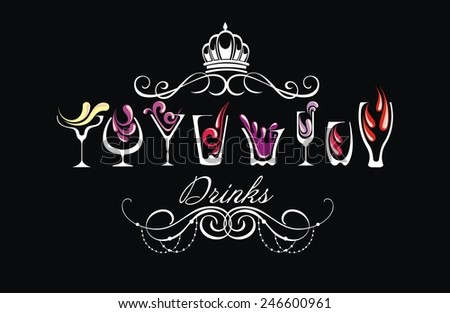 Drink alcohol background.Drinks - stock vector