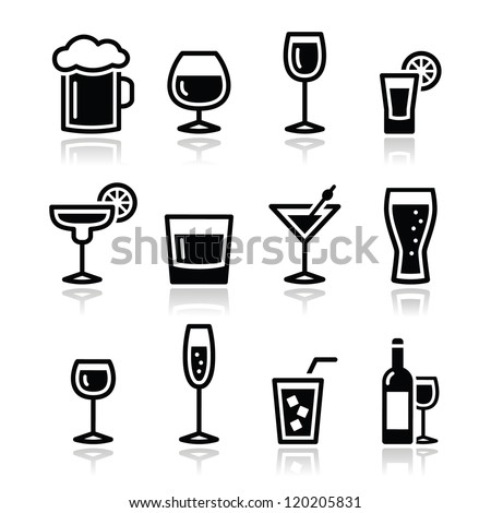 Drink alcohol beverage icons set - stock vector