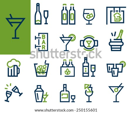 Drink alcohol beverage icons set simple linear style - stock vector
