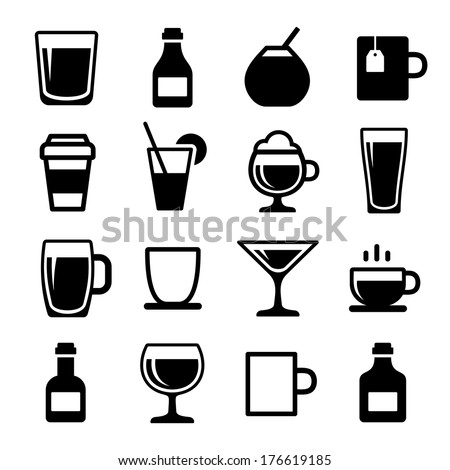 Drink and beverage icons set - stock vector