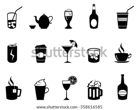 drink beverage icons set - stock vector