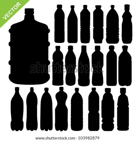 drink bottle silhouettes vector - stock vector