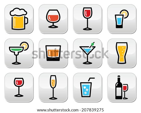 Drink colorful alcohol beverage buttons set - stock vector