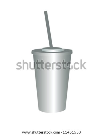 Drink Cup with Straw Vector Illustration
