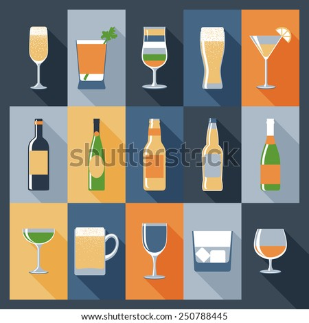 Drink decorative icons flat set with alcohol in bottles and glasses isolated vector illustration - stock vector