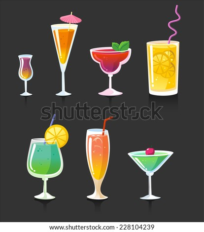 Drink drinks cocktail alcohol glasses, vector illustration cartoon. - stock vector