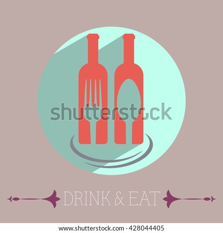 Drink & Eat Template Illustration. Two Glass Bottles of Wine with Fork and Spoon on Light Backdrop Flyer Illustration. Modern stylish banner. Digital Vector Image.