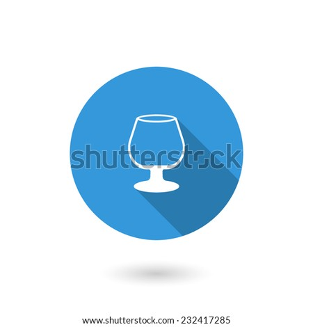Drink empty icon. Flat icon with long shadow - stock vector