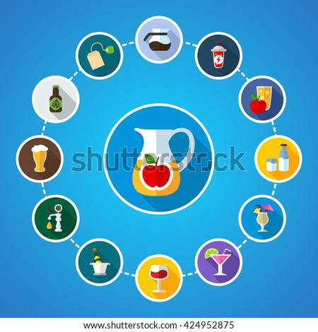 Drink flat concept with long shadow effect icon for Web, Presentations and Mobile Application.