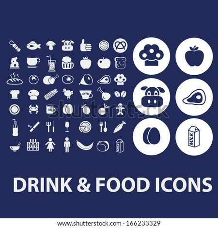 drink, food icons set - stock vector