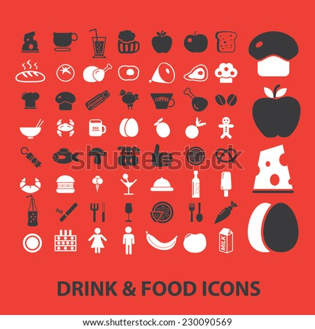 drink, food icons, signs, illustrations set, vector - stock vector