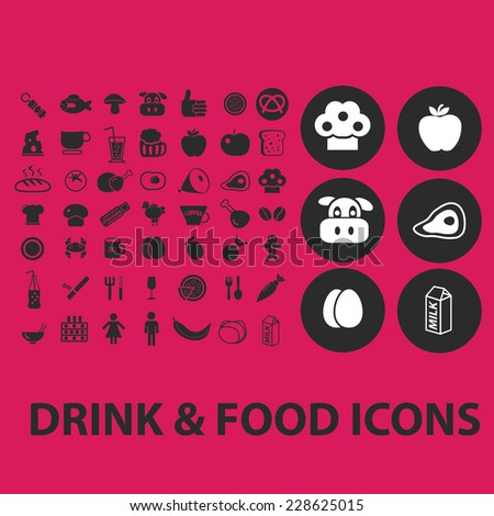 drink, food, product black isolated icons, signs, symbols, illustrations set, vector - stock vector