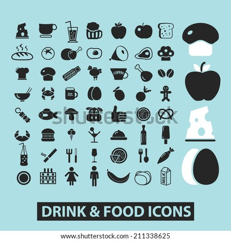 drink, food, restaurant, grocery black icons, signs, silhouettes, illustrations set. vector  - stock vector