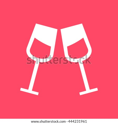 Drink Glass icon on magenta color background. Eps-10.