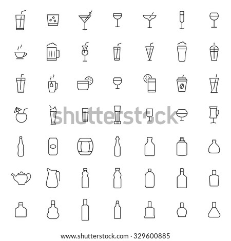 Drink icon set in thin line style - stock vector