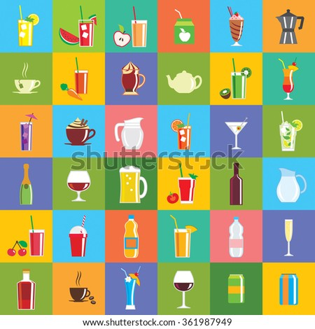 Drink icons - a collection of vector icons. - stock vector