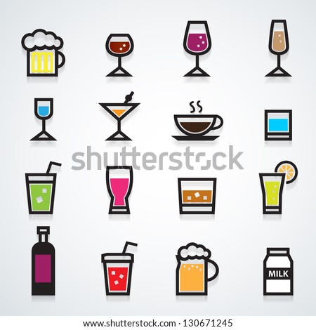 drink icons set color - stock vector