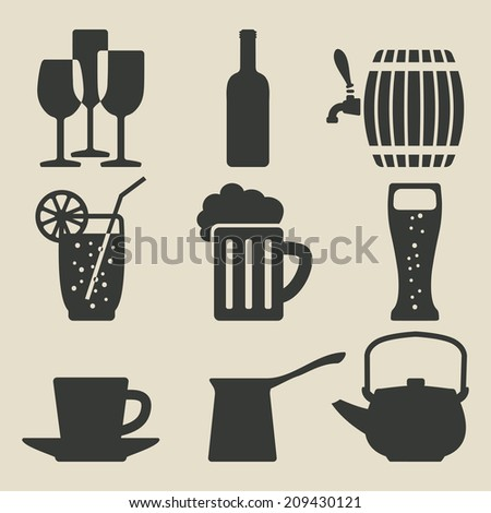 drink icons set - vector illustration. eps 8 - stock vector