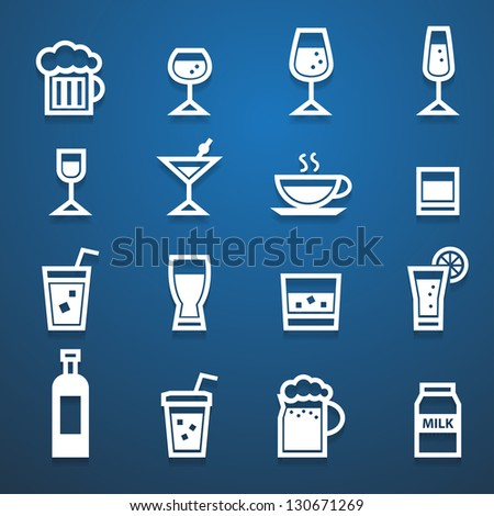 drink icons set with blue background