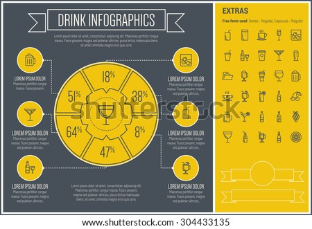 Drink infographic template and elements. The template includes the following set of icons - tea, soda, whisky, cold, refreshment, fruit, orange jiuce and more. Modern minimalistic flat thin line - stock vector