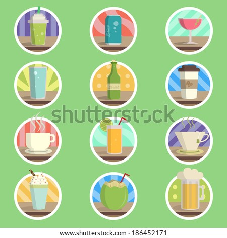 Drink Menu Flat Icon - stock vector
