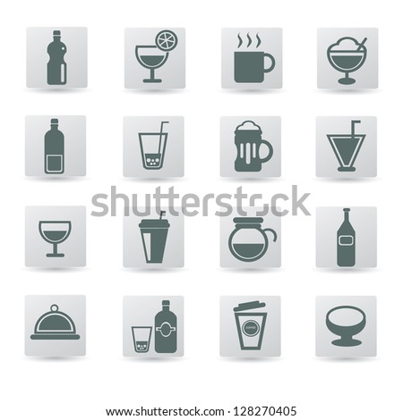 Drink sign,cups icon set,vector