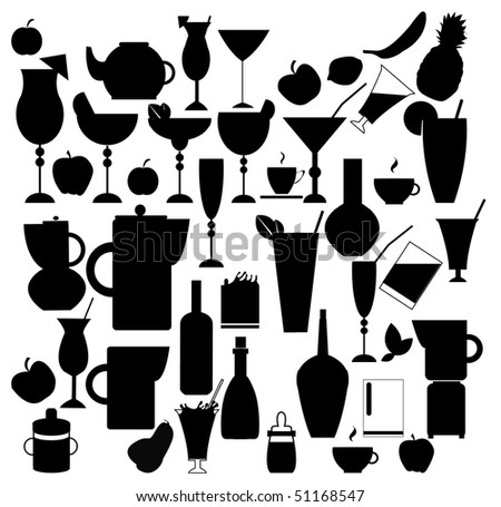 Drink silhouettes - stock vector