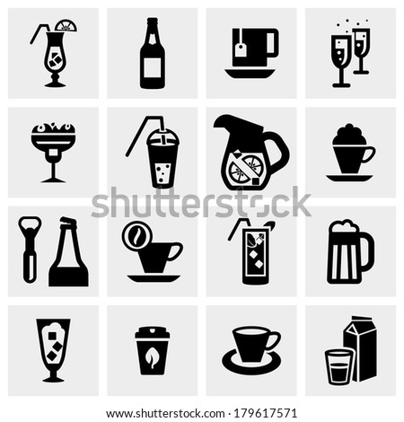 Drink vector icons set on gray