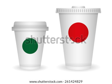 drinking cups sizes set, vector illustration - stock vector