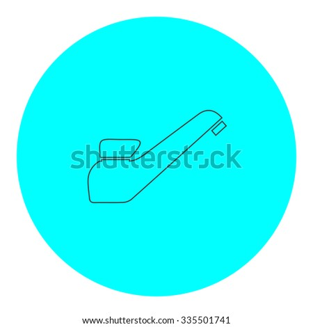 Drinking faucet. Black outline flat icon on blue circle. Simple vector illustration pictogram on white background - stock vector