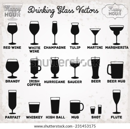 Drinking Glass Silhouettes. Vector Illustration - stock vector