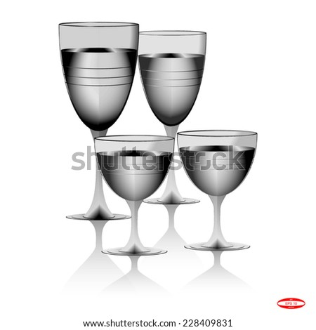 drinking glass transparent glass on white background vector - stock vector