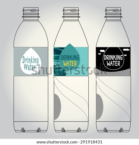 drinking water bottle - stock vector